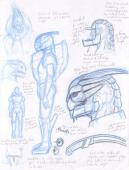 Garrus costume mask and armor planning concept sketches