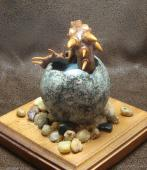 Dragon Hatchling Sculpture - Brown and Grey, Back View
