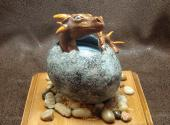 Dragon Hatchling Sculpture - Brown and Grey