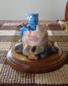 Dragon Hatchling Sculpture - Light Blue, Front View