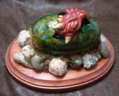 Dragon Hatchling Sculpture - Little Red, Top View