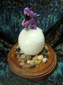 Dragon Hatchling Sculpture - Purple Yawn, front view