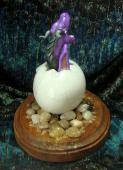 Dragon Hatchling Sculpture - Purple Yawn, back view