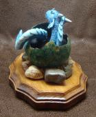 Dragon Hatchling Sculpture - Turquoise and Green, Back View