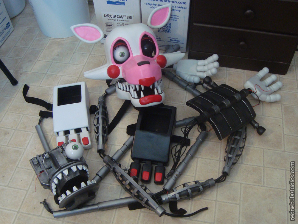 All of the various pieces of the Mangle puppet costume
