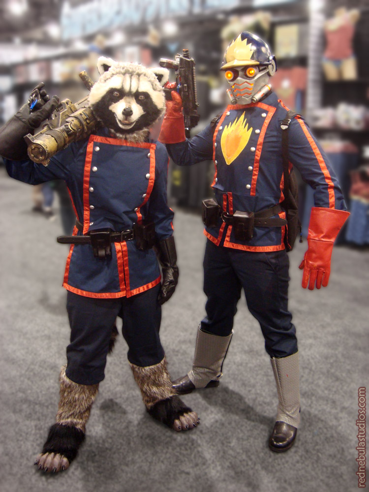 The full Star-Lord and Rocket Raccoon costumes