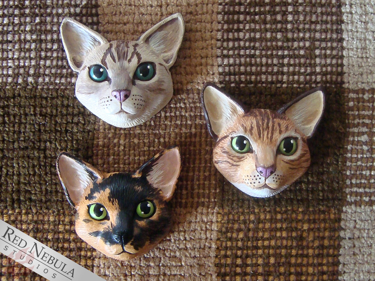Painted cat face magnets