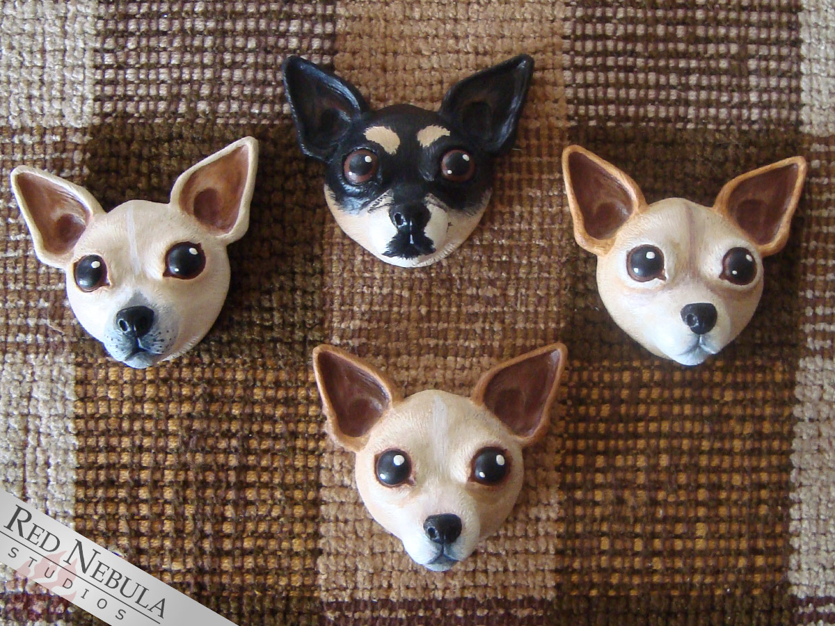 Painted chihuahua face magnets