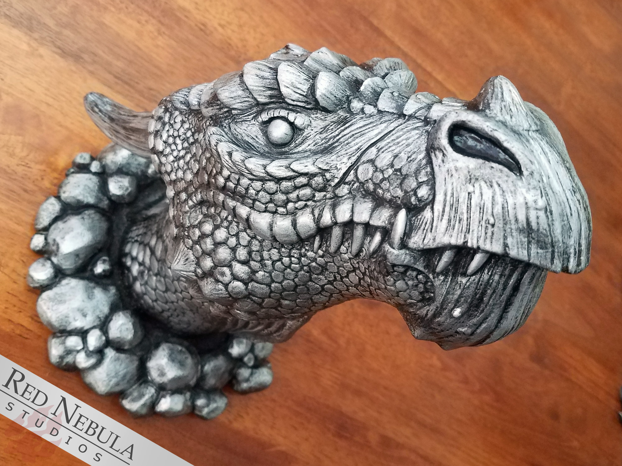 Dragon wall mount sculpture painted to resemble tarnished silver