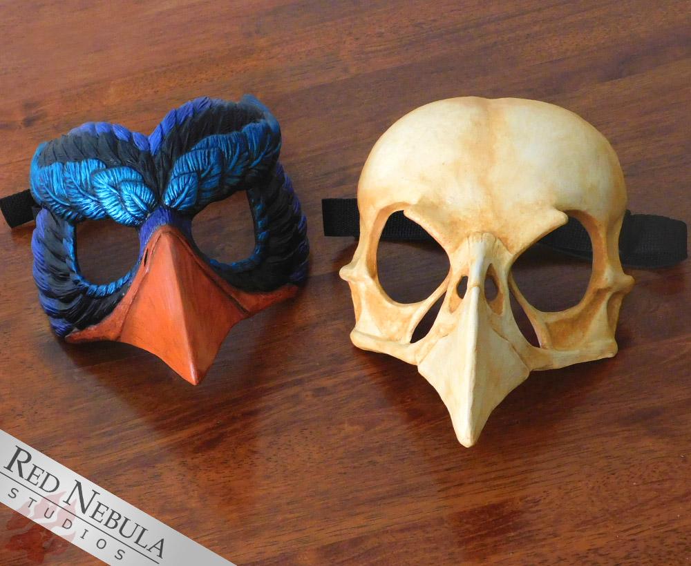 Painted griffon and eagle skull masks