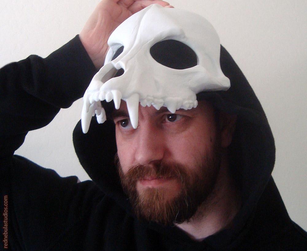 Wolf skull mask blank being worn as a headdress