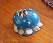 Brown Baby Dragon Claws Sculpture in Speckled Blue Egg