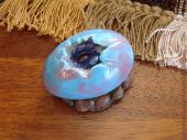 Purple Baby Dragon Hatchling Sculpture in Blue and Pink Egg