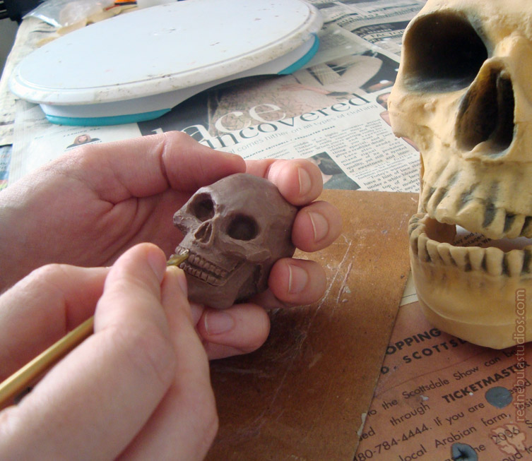 Sculpting the mini skull
