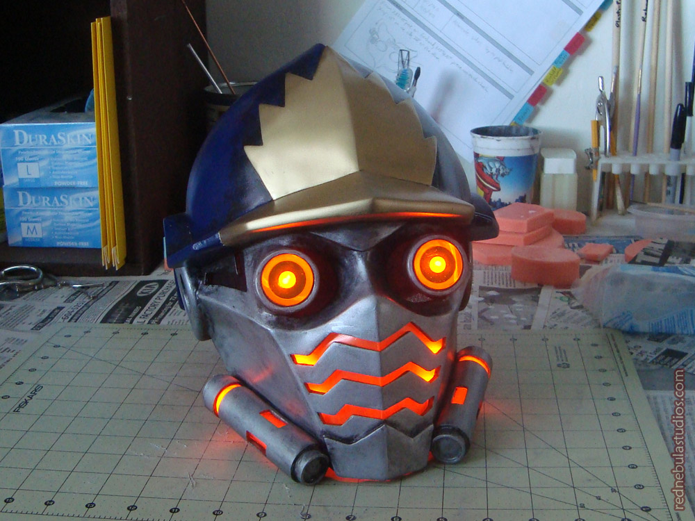 The full helmet with LED lights turned on