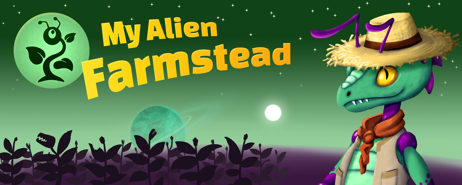 My Alien Farmstead with green alien plant logo, and an antid alien farmer in a straw hat and bandanna, in front of the silhouette of plants, a planet, a small sun, and stars.